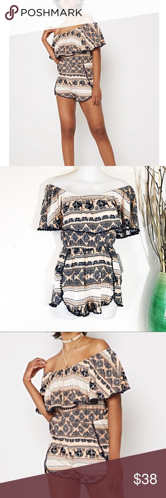 NEW Soft Elephant OffShoulder Ruffle Romper Jumper NEW Super Soft pink and navy Elephant Off Shoulder Ruffle Romper Jumper play suit. Small = 4-6. Medium 6-8 Large 8-10 new with tags. J for Justify Pants Jumpsuits & Rompers
