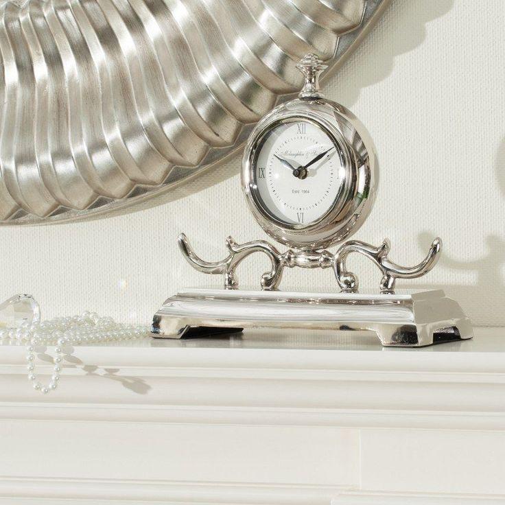 #zegar #clock #watch #decoration #dekoracje  #home #interior #design #ideas Zegar Gustav kominkowy 27,5x10x26cm metal, 27,5x10x26cm - Dekoria