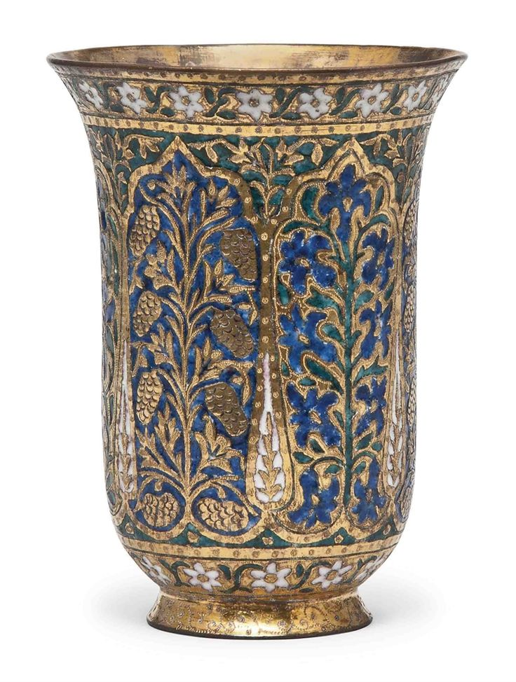 A Fine Gilt Brass And Enamelled Beaker Kashmir 19th