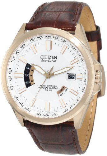 Citizen Men's CB0013-04A World Perpetual A-T Watch Citizen. $299.25. Non reflective sapphire glass. Atomic timekeeping, the most accurate watch in the world. Automatic time in 26 world time zones, perpetual calendar. Stainless steel rose gold tone case with brown leather strap, 43mm case. 200 meters water resistant. Save 25%!