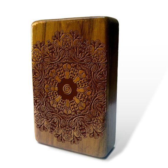 Borneo Mandala Java Teak wood Cigarette Case