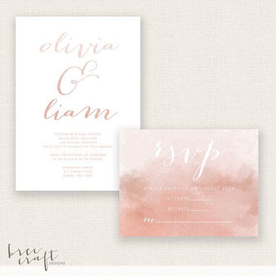 #BLUSHING #BRIDE  #DIY #Printable #Wedding #Set  by #breecraftdesigns #watercolor #calligraphy #invitation #replycard #rsvp #blush #pink #salmon