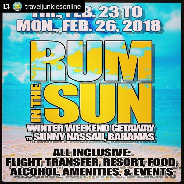 """#Repost @traveljunkiesonline  2018 Winter Weekend Getaway To Sunny Nassau Bahamas . . Friday February 23rd to Monday February 26th 2018 . . Staying at the ALL INCLUSIVE BREEZES RESORT & SPA . . All Inclusive means ALL INCLUSIVE!!!  FLIGHT & TRANSFERS  3 NIGHT RESORT STAY  ALL FOOD & DRINKS  ALL ALCOHOL  ALL EVENTS INCLUDING:  Welcome to the """"242"""" Day Party  Fashion Show and Runway walk starring @mcmgnyc  Beach Swimwear Party and BBQ  Bahamas Rum Fest 3 day Admission  All Star Caribbean…"""