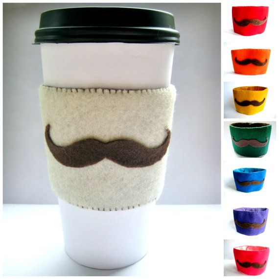 Mustache Cup Sleeve - Felt Coffee Cup Cozy / Beverage Cozy / Mustache Gift on Etsy, $7.88 CAD