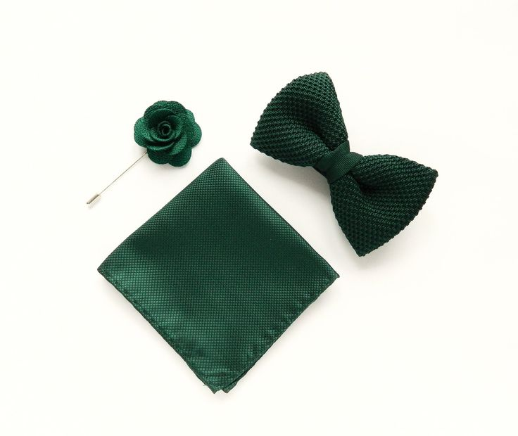 knitted green Pre-tied bow tie green pocket square emerald green lapel pin wedding boutonniere groom uk by TheStyleHubTrends on Etsy