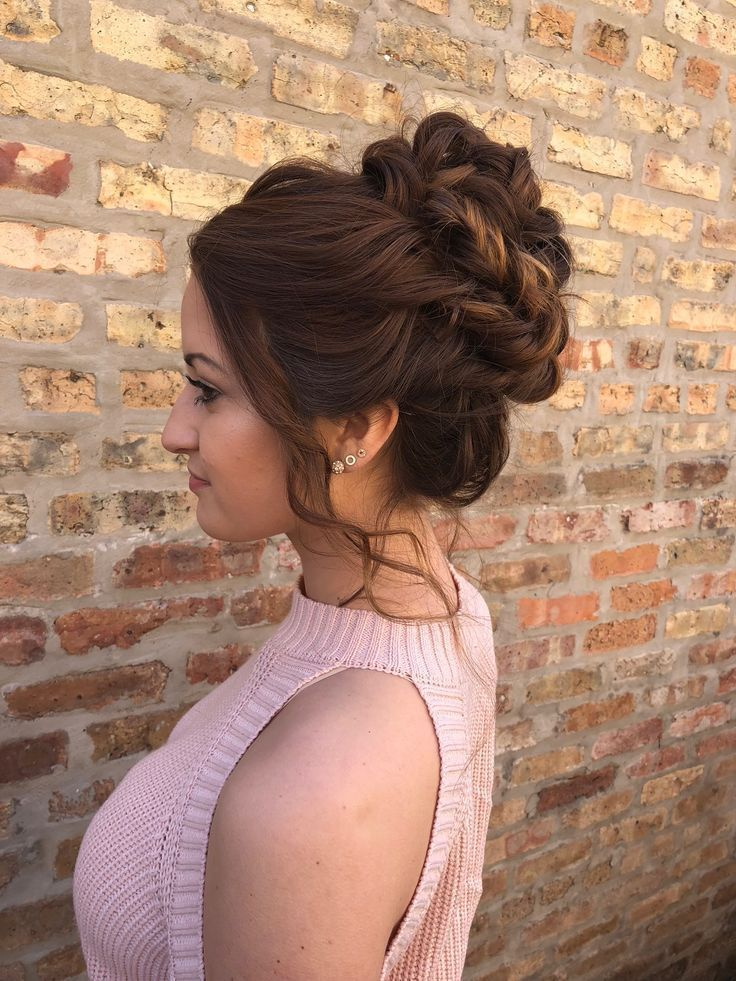 high bun with twists, curls + loose waves | Updo for Ho ... - # rolls # turns # for #double high