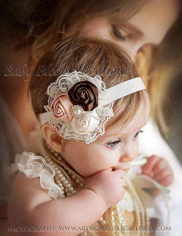 Baby Headband, Lace flower headband, newborn headband, Satin Rosette headband, Baby girl Headbands, toddler headband, Shabby Chic, hair bow. $9.95, via Etsy.