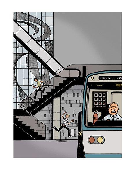 Paul dans le métro, affiche signée par Michel Rabagliati.