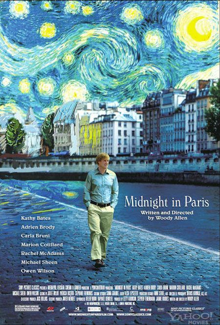 Midnight in Paris  watched this last weekend and really liked it. interesting cast. great soundtrack.