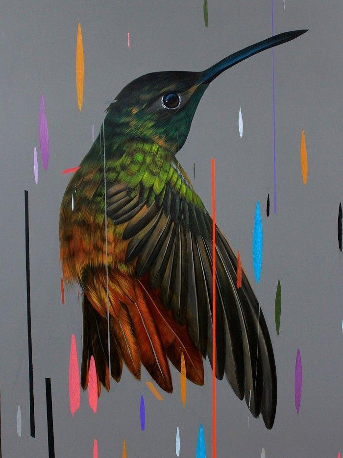 Dipinti di uccelli in una pioggia di colori di Frank Gonzales