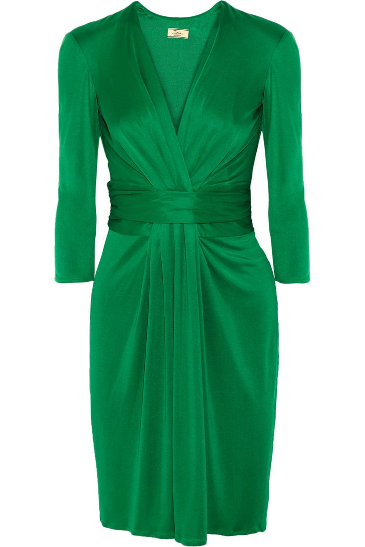 Issa | Ruched silk-jersey dress | NET-A-PORTER.COM #issa #emerald_green #dresses: