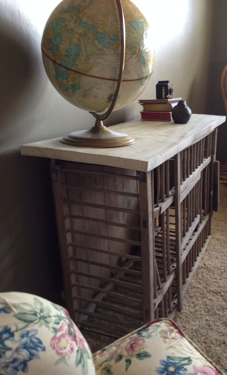 Table made from an old chicken crate did it myself for Table made from crates