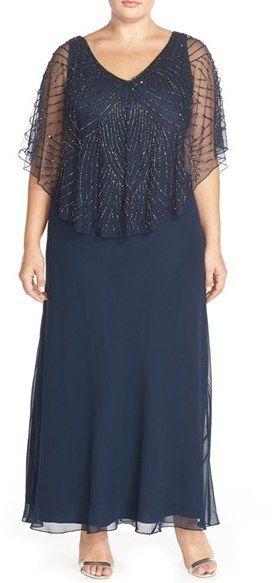 J Kara Embellished Cape Overlay V-Neck Gown (Plus Size)