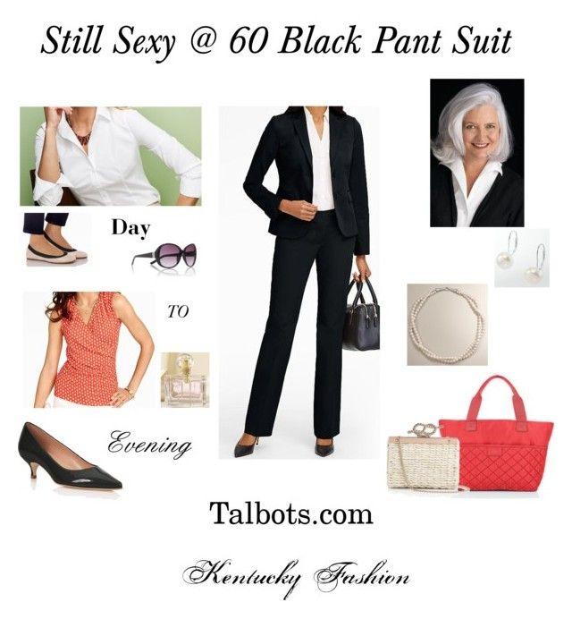 """Still Sexy @ 60 Black Pant Suit"" by kentuckyfashion ❤ liked on Polyvore featuring Talbots"