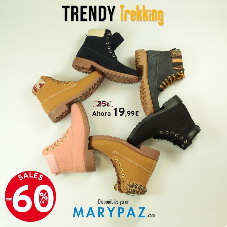 SALES UP TO -60% DTO. ►►► REBAJAS con hasta el 60% dto. en muchos de nuestros artículos en TIENDA y ONLINE www.marypaz.com   Descubre las botas trekking más trendy de MARYPAZ, multitud de colores, materiales y texturas AHORA a 19,99€!!!  Conoce más sobre nuestras BOTAS TREKKING REBAJADAS aquí > http://www.marypaz.com/tienda-online/trendy/bota-8.html