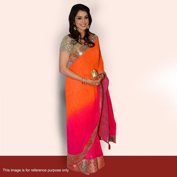 Bollywood Sarees Online Shaded Orange And Pink Multi Sequins And Border Work Bollywood Sarees