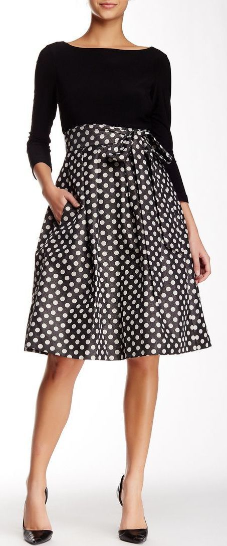 bLong Sleeve Mixed Fabric Dot Party Dress | Black & Silver | sponsored by Norstrom Rack