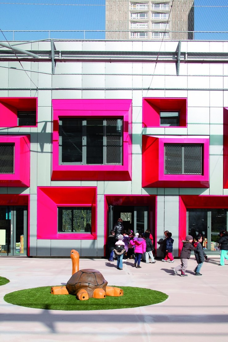 Ecole Maternelle Javelot, Paris, 2012 by Eva Samuel Architecte et Associes  #architecture #colors #facade #windows #school