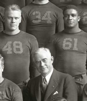 President Gerald Ford, left, from his Michigan playing days with Willis Ward, right, and Fielding Yost, center. The former U.S. president was the Wolverines' MVP in 1934.