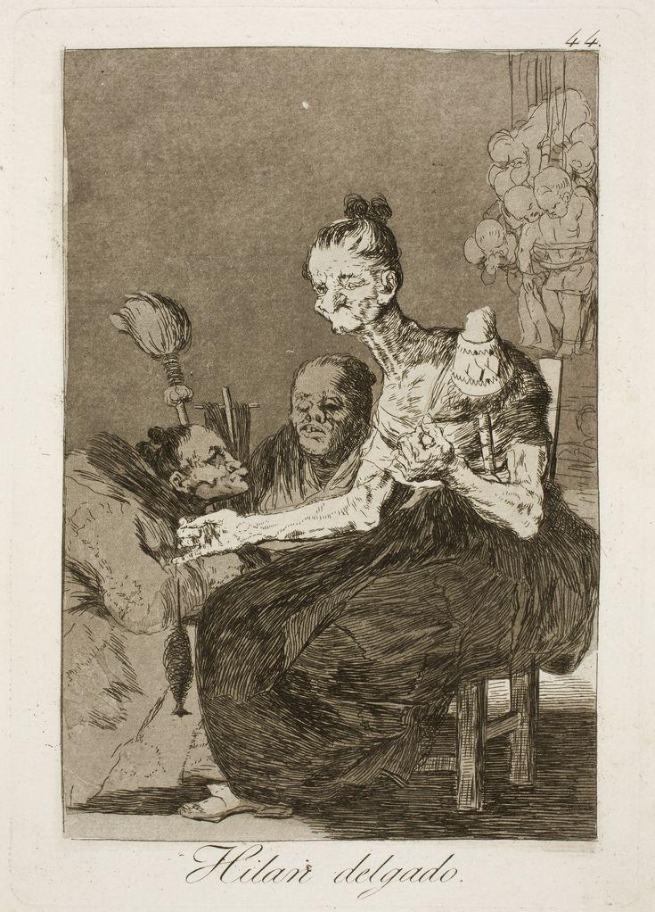 """Francisco de Goya. Caprichos, """"Hilan delgado"""". Los Caprichos N°44."""