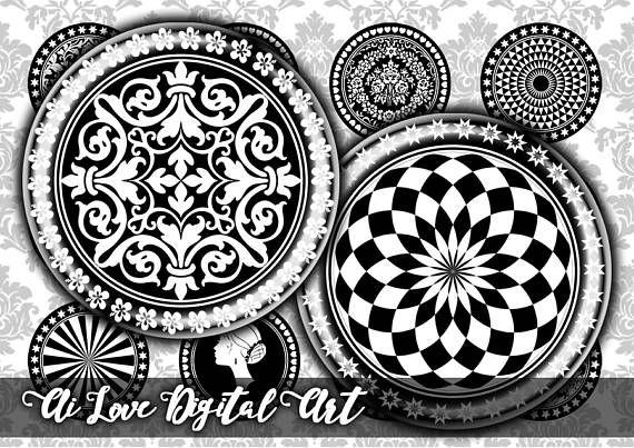 Digital download cabochon printable Black and White digital #digitalcollagesheets #1inchbottlecapimages #blackandwhiteprintables