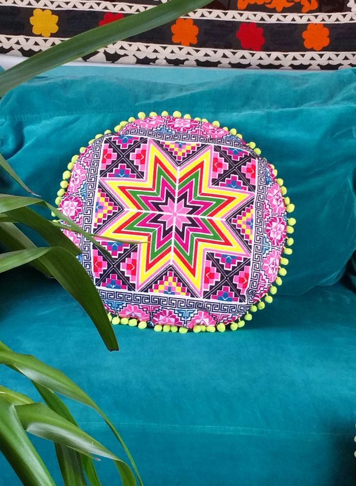 Round Embroidered Star  Pillowcase by KavanaEmporium on Etsy