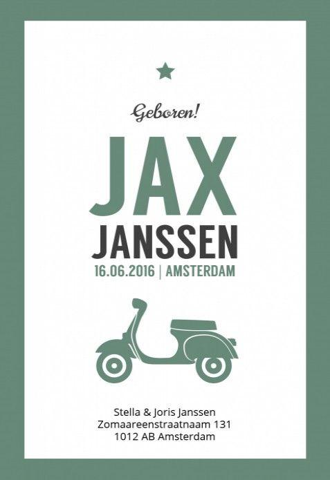 Stoer letterpress stijl geboortekaartje met een vintage kader en een retro groene scooter. Heel stoer baby kaartje voor een jongetje!