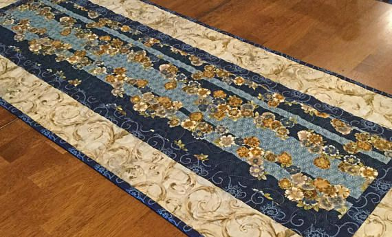 Quilted Asian Table Runner Blue Table Runner Elegant Table