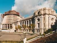 Old and new Parliament Buildings, Wellington, NZ