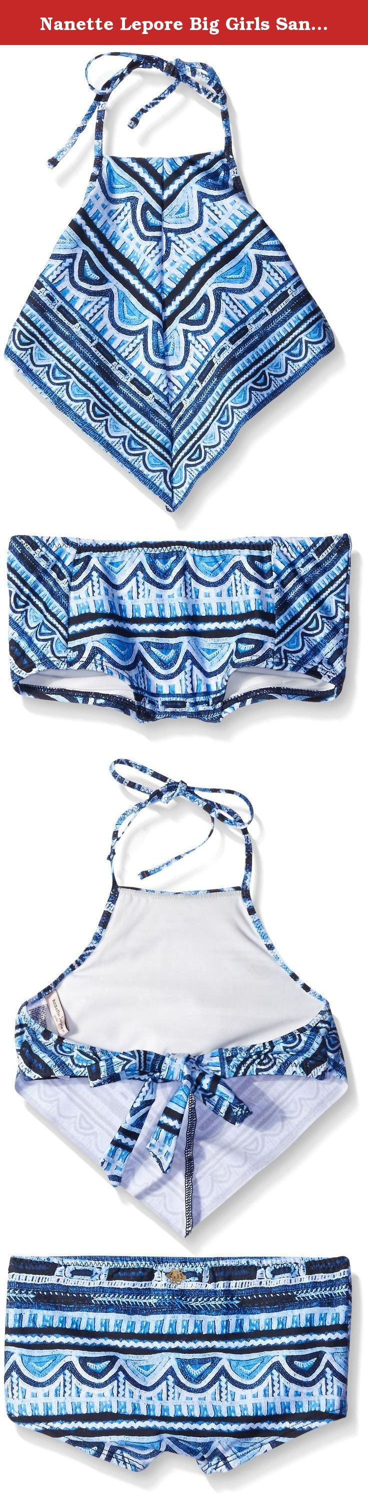 Nanette Lepore Big Girls Santorini Scallop Handkerchief Top with Surf Short, Indigo, 8. Tween sized teenager tankini sets teen swim swimsuits swimming pool beach favorite suit girl girls top and bottom ropa traje de bano swimsuit number 1 best fav de la mar.
