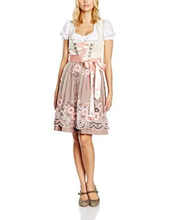 93351c9425f140 Fuchs Trachtenmoden Damen Kleid, Mehrfarbig (Champagner/Rose), 38 ...