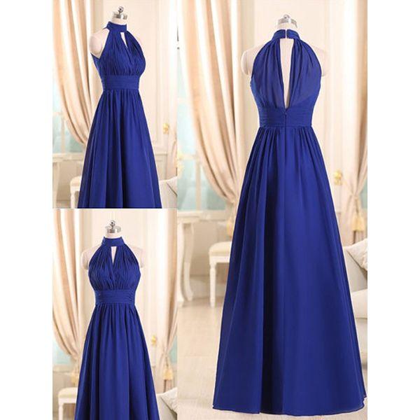Royal Blue halter dama de honra vestidos com buraco da fechadura frente, uma linha de chiffon dama de honra vestidos, diferentes dama de honra vestidos, # 01012508