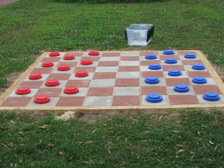 For my daughter's Girl Scout Silver Award project, she constructed a jumbo (8' x 8') outdoor checker board for a local summer arts camp.