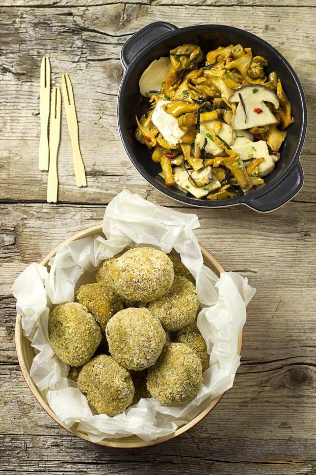 POLPETTINE DI QUINOA E AMARANTO CON ZUCCA E FUNGHI - Cucina Mancina - Le ricette mancine
