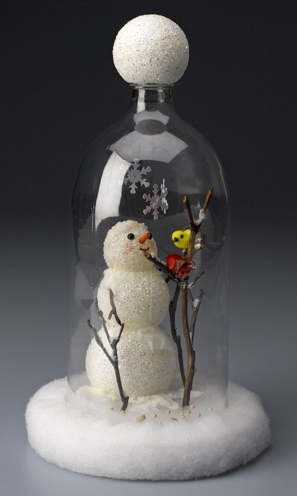 Sweet Snowman Scene in a cloche made from a two-liter plastic bottle!