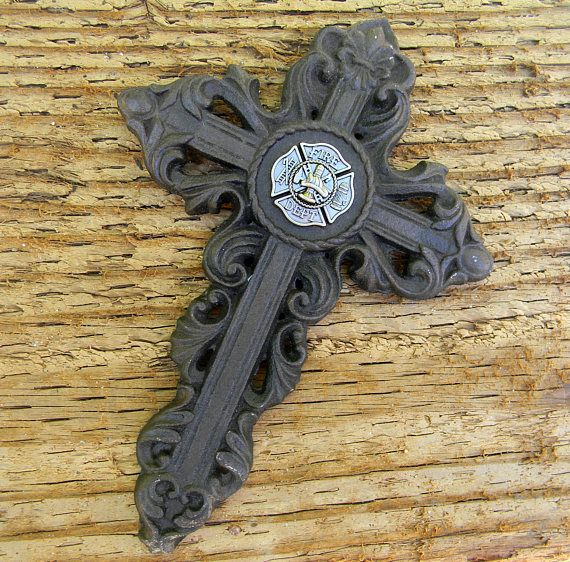Firefighter Christian Metal Cross Wall Art Cast Iron Catholic