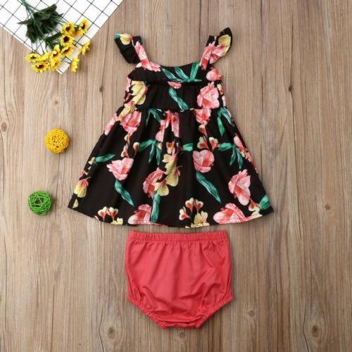 Summer Infant Baby Girls Short Sleeve Floral Print Dress Clothes Dresses