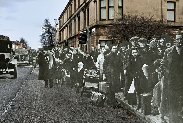 Evacuees from the Clydebank Blitz, March 1941, at the Clydebank Cross of 2011. (Love these duel before & after photographs)