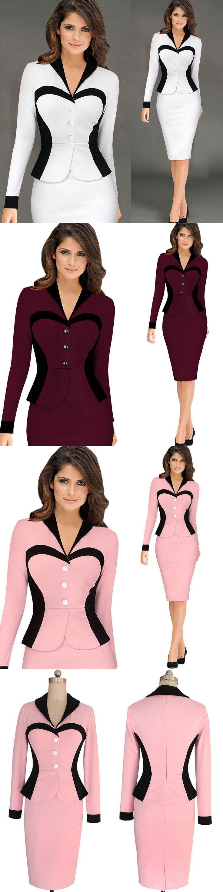 Womens Elegant Ruffles V-neck Peplum Vintage One Piece Dress Suit Wear To Work Office Business Party Bodycon Pencil Sheath Dress
