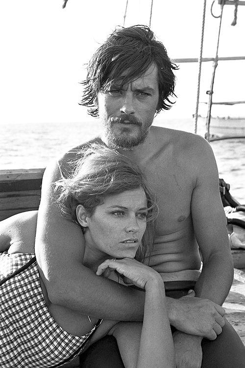 Alain Delon avec sa femme Nathalie en 1966.