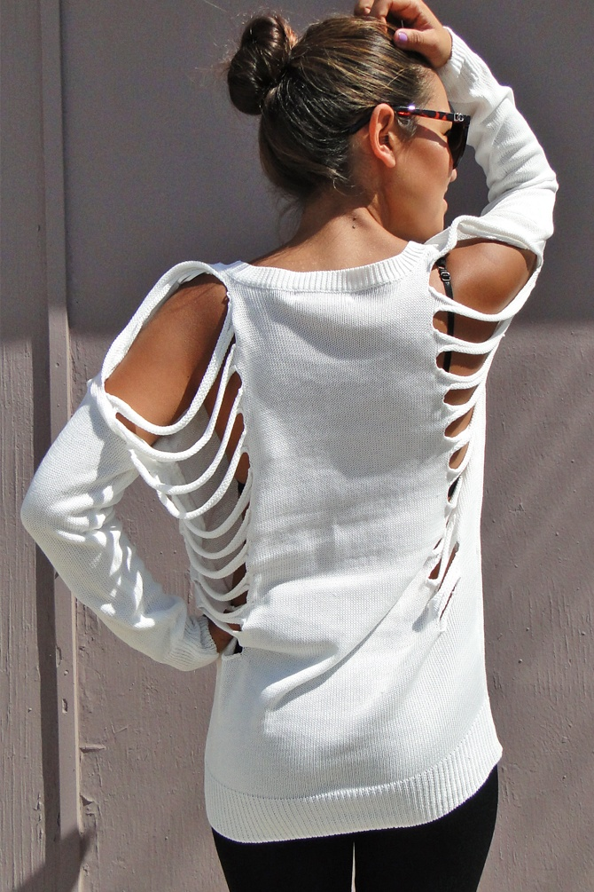 Laser cut Sweater in White available in store at Dreamgirls and NOW at www.shopdreamgirls.com