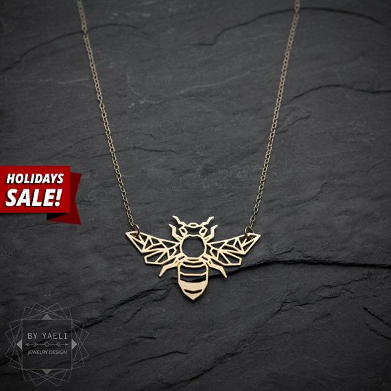 Holidays SALE Bee necklace origami gold bee necklace by ByYaeli