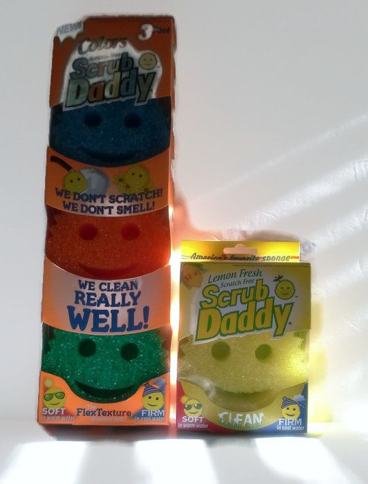 New SCRUB DADDY Colors 2 in 1 Flextexture Foam Scratch Free Sponges 3-Pack  + 1 #ScrubDaddy