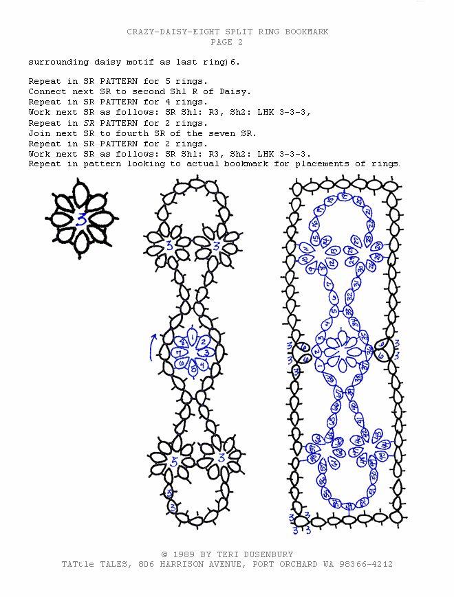 TATtle TALES Tatting Patterns: Tatting Bookmark TATBiT's Tatted Crazy Daisy Eight Pattern