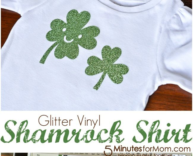 Need a crazy simple Shamrock Shirt for your little lady? Try this Iron-On Glitter Vinyl Shamrock Shirt.