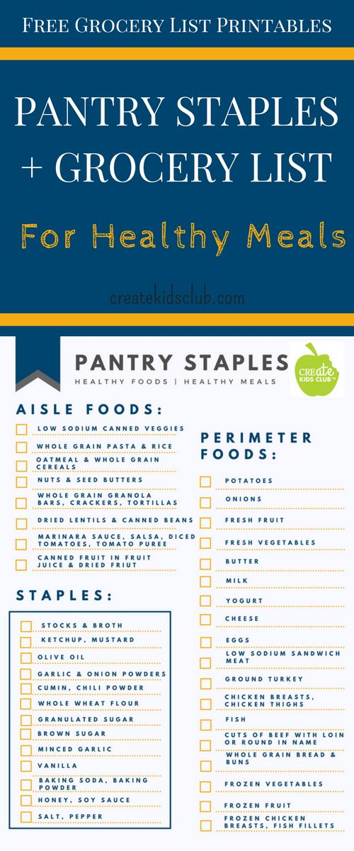 Dietitian developed FREE printable pantry staples & grocery list. Includes ingredients to make most meals on Create Kids Club website. via @http://www.pinterest.com/createkidsclub