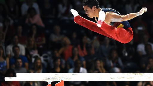 Calvo Moreno Jossimar of Colombia competes to a gold medal in the artistic gymnastic men's parallel bars final during the 2015 Pan Am Games at the Toronto Coliseum on July 15, 2015. (Photo:Harry How/Getty Images)