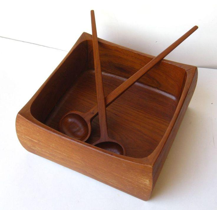 Vtg 3pc Sowe Konst Sovestad Swedish Teak Mid Century Salad Serving Bowl Set #MidCentury #SoweKonst