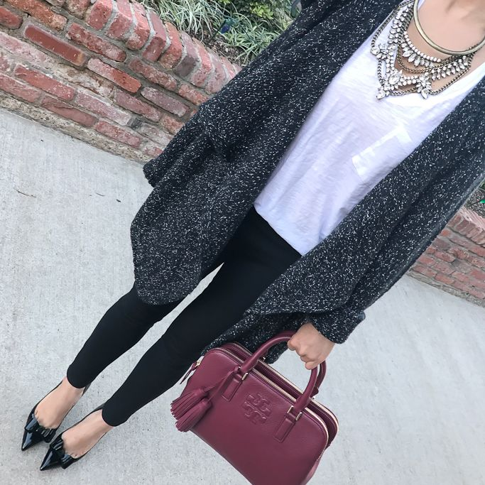 Gray black drape cardigan, Black ponte ankle pants, black bow pumps, grendel bib necklace, burgundy tote