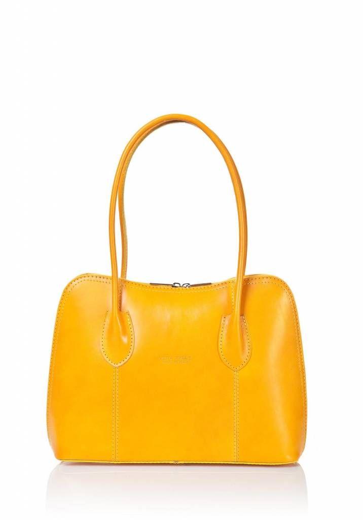 - Schouder tas-handtas soepel leder dubbel handvat geel kleur uit Italië